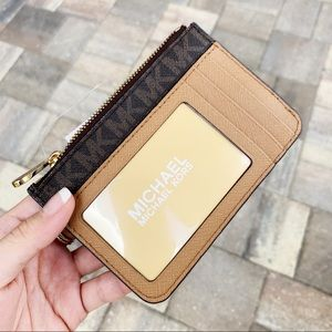 Michael Kors brown acorn coin wallet ID holder